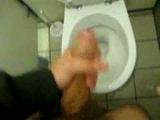 Big thick cock stroking in the washroom